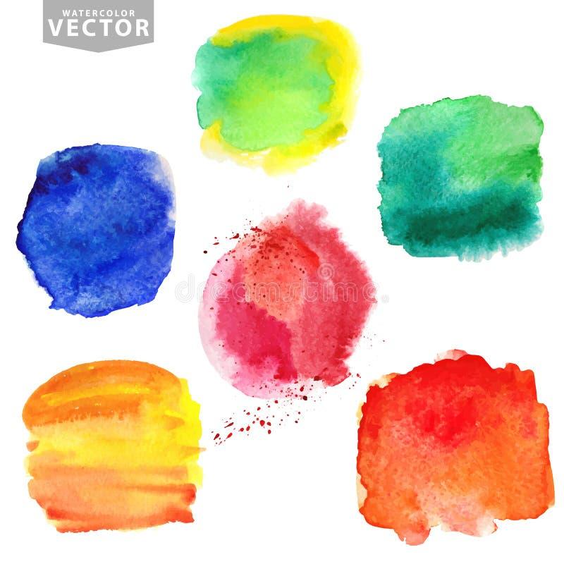 plaskar vattenfärg Sommar ferieuppsättning brigham stock illustrationer