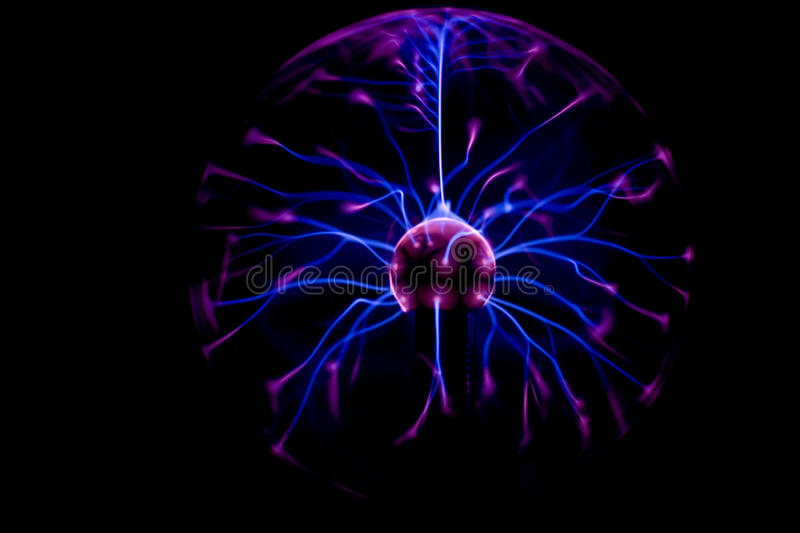 Plasma ball spark. A colorful spark in a plasma ball stock images