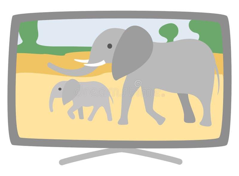 Plasma-breite Fernsehapparat-Vektor-Elefanten auf Schirm lizenzfreie abbildung
