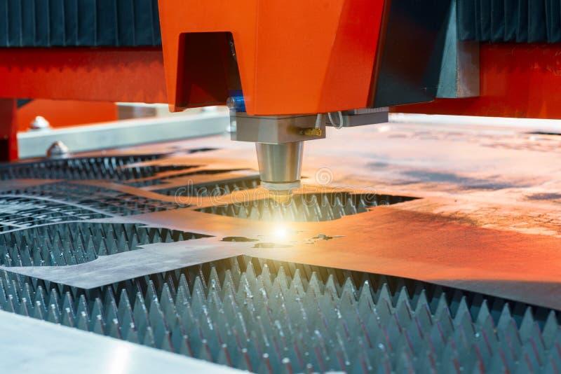 Plasma cutting machine cuts steel sheet. royalty free stock images