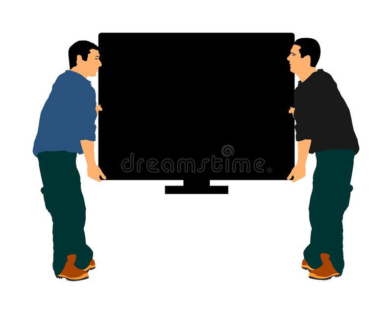 Plasma de transport TV de livreur Homme de courrier avec le paquet Distribution et fourniture Garçons tenant la télévision, servi illustration libre de droits