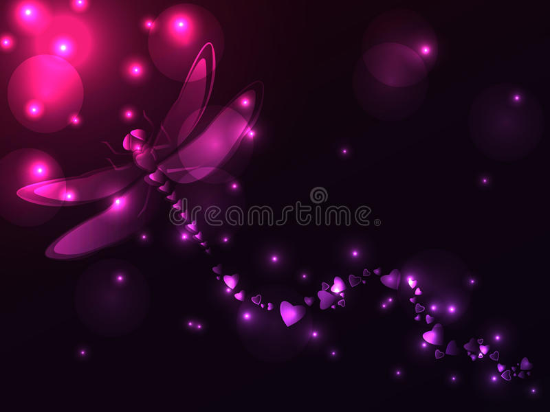Plasma dragonfly and hearts vector illustration