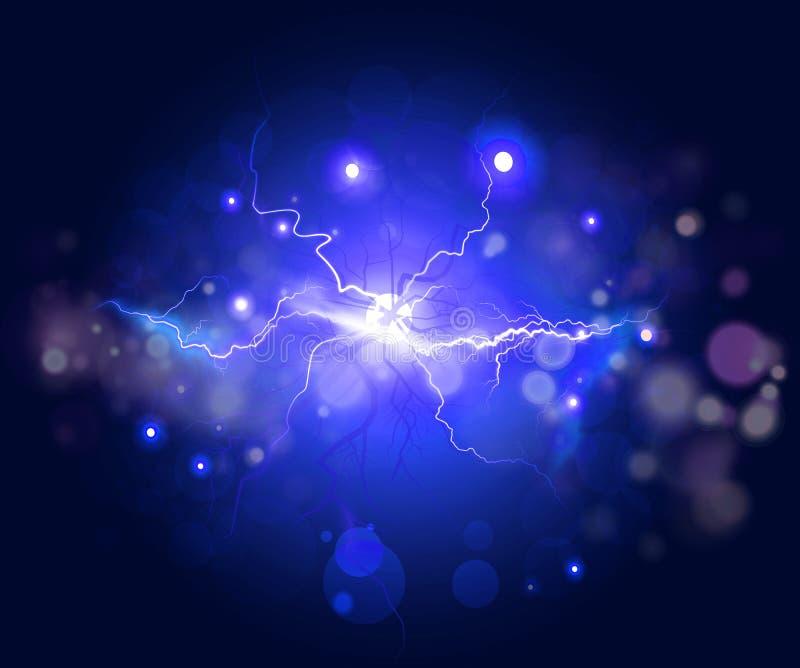 Plasma- eller blixtfractal, abstrakt energibakgrund stock illustrationer