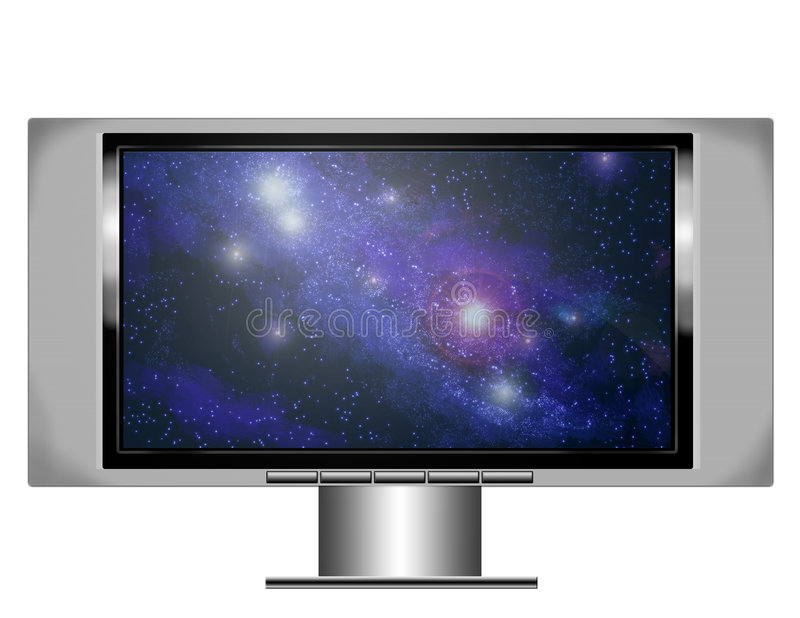 Plasma screen tv with nebula stock illustration