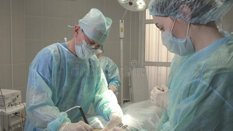Plasma surgical scalpel, urgent surgical intervention close up royalty free stock image