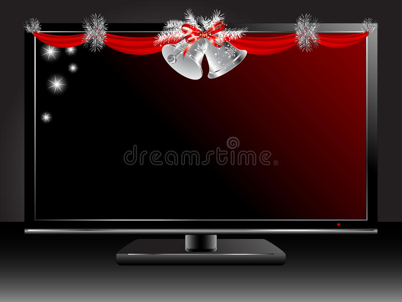 Plasma tv. With silver Christmas garland stock illustration