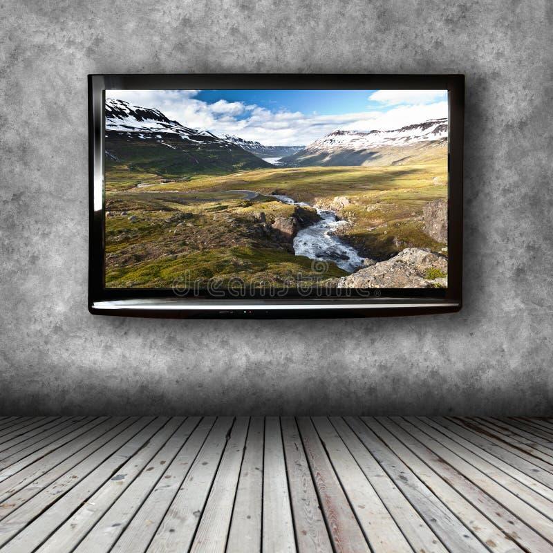 Plasma tv en la pared del cuarto foto de archivo imagen - Tv en la pared ...