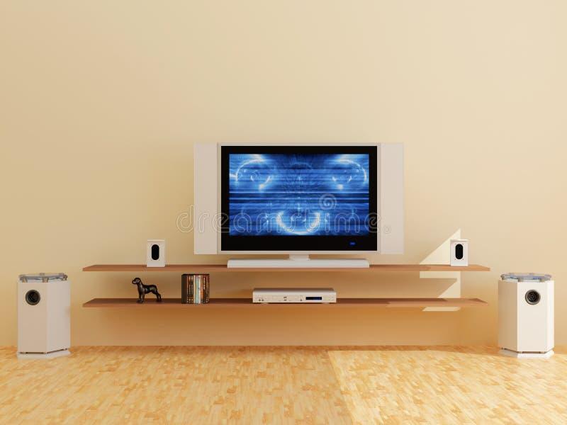 Plasma TV in a modern interior. High resolution image interior. 3d illustration modern interior. The plasma TV stock illustration