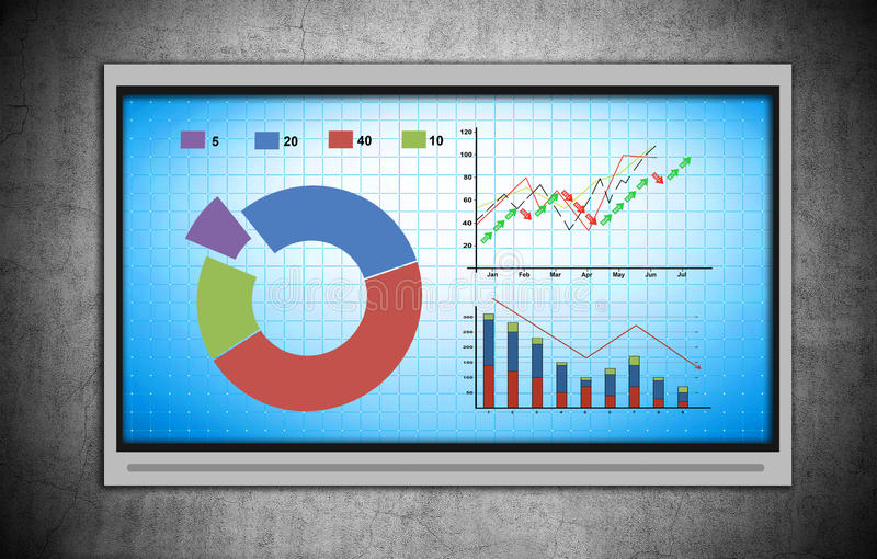 Plasma TV with stock chart. On gray concrete wall stock photo