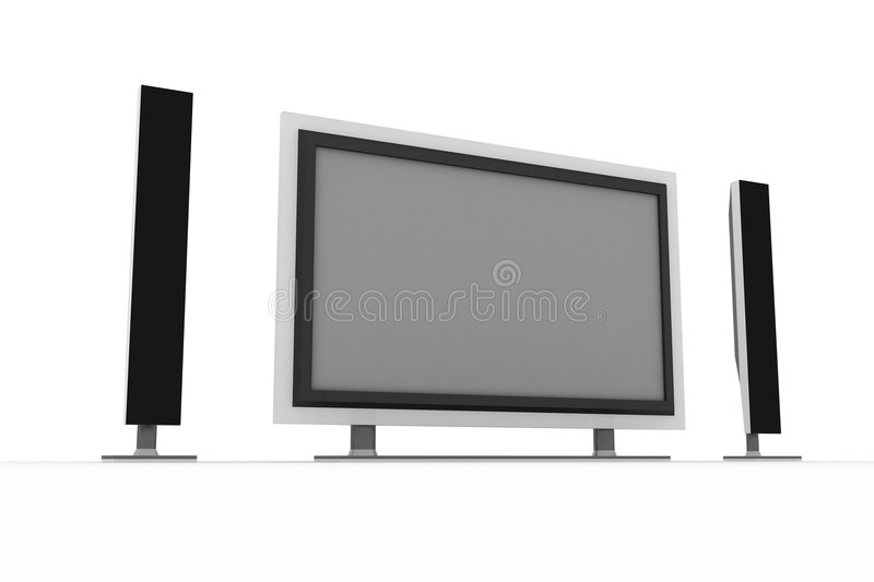 Plasma tv with two standing speakers stock illustration
