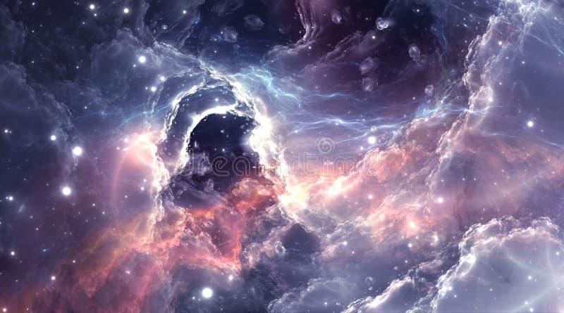 Plasmatic nebula, deep outer space background with stars. Illustration stock illustration
