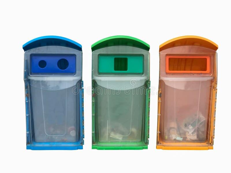 plasstic апельсин голубого зеленого цвета цвета мусорной корзины погани 3 дальше к стоковые изображения