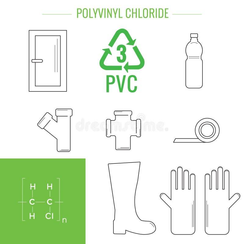 Plast- återanvändbara objekt för vektor stock illustrationer