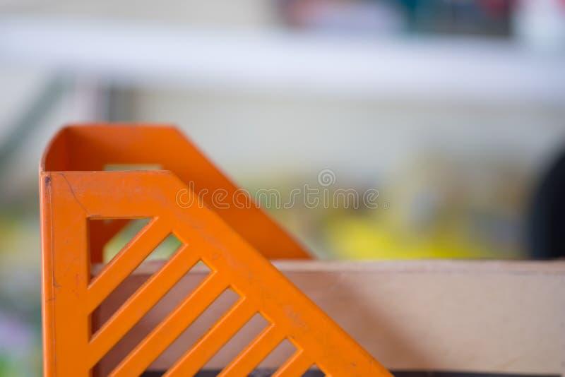 Plast- ask för orange arkivering royaltyfria foton