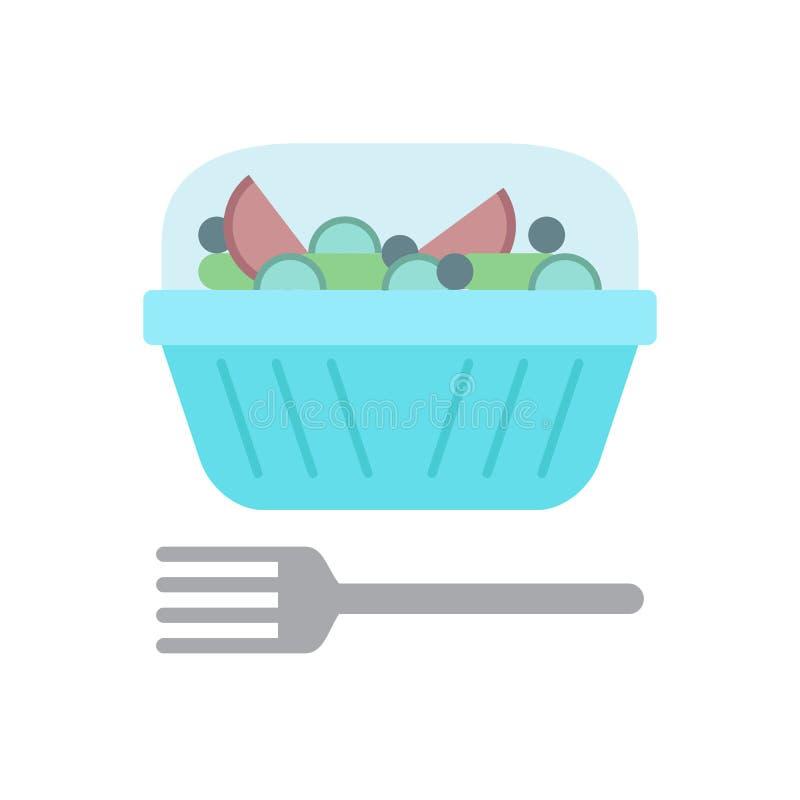 Plast- behållare för sallad och plan symbol för gaffel, vektortecken, färgrik pictogram som isoleras på vit stock illustrationer
