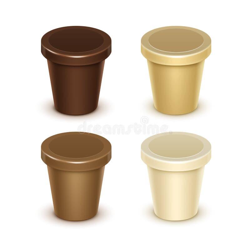 Plast- behållare för vaniljchokladefterrätt vektor illustrationer