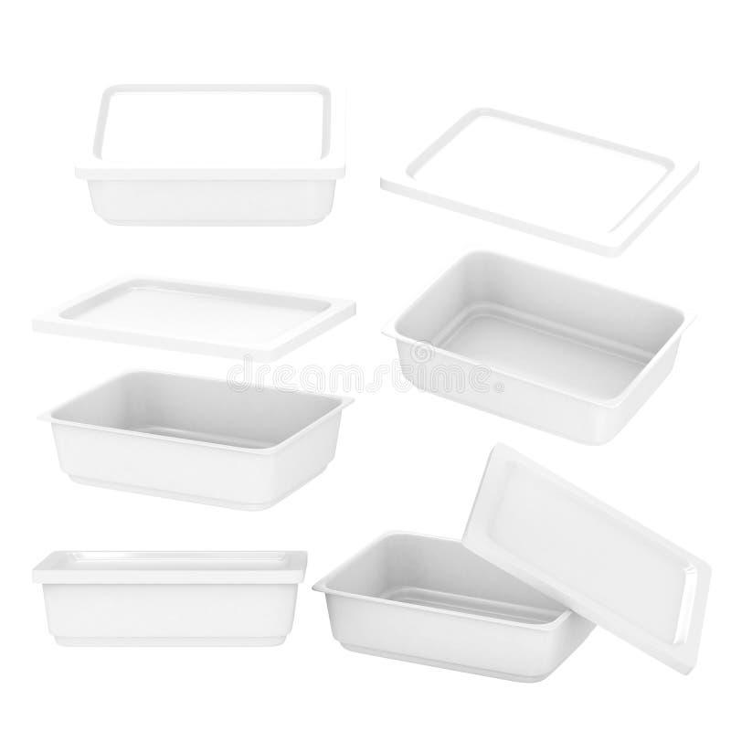 Plast- behållare för vit rektangel för livsmedelsproduktion med gemet arkivfoton
