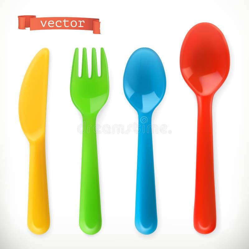 Plast- bestick Formad pannkaka för ungar Food symbolsuppsättning för vektor 3d royaltyfri illustrationer