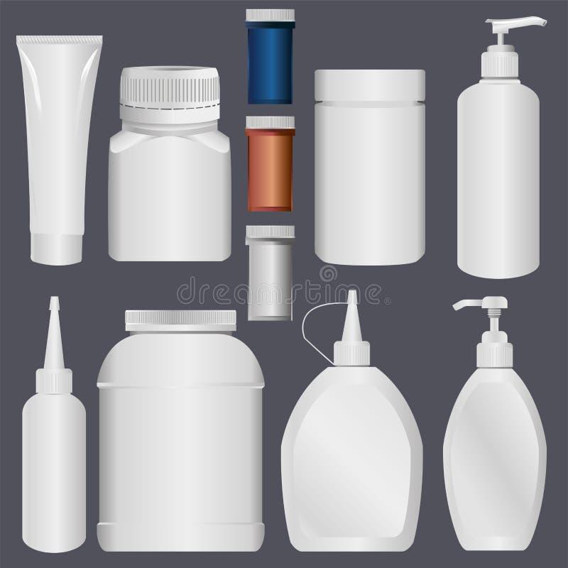 Plast- buteljera och det plast- röret för Lotion vektor illustrationer