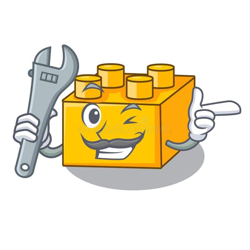 Plast- byggande tyos för mekaniker som formas på maskot vektor illustrationer