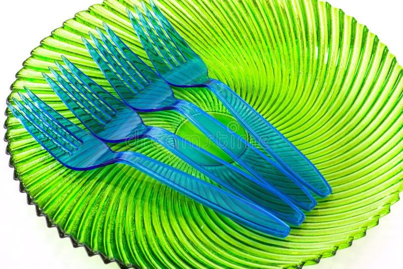 Plast- cultlery arkivfoto