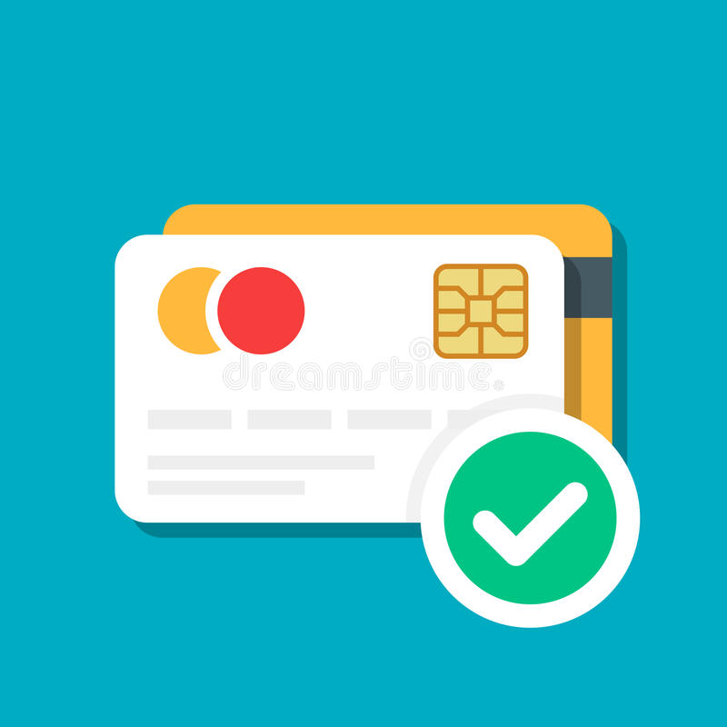 Plast- debitering eller kreditkort med en godkänd symbol för betalning Kontokort E-kommers Vektorillustration som isoleras på fär vektor illustrationer