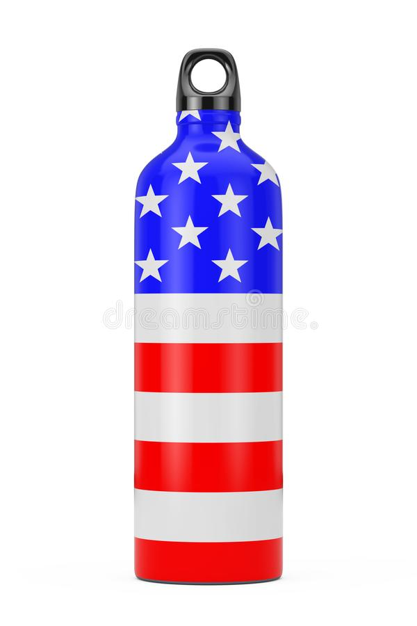 Plast- dricksvattenflaska för sport med USA flaggan framf?rande 3d royaltyfri fotografi