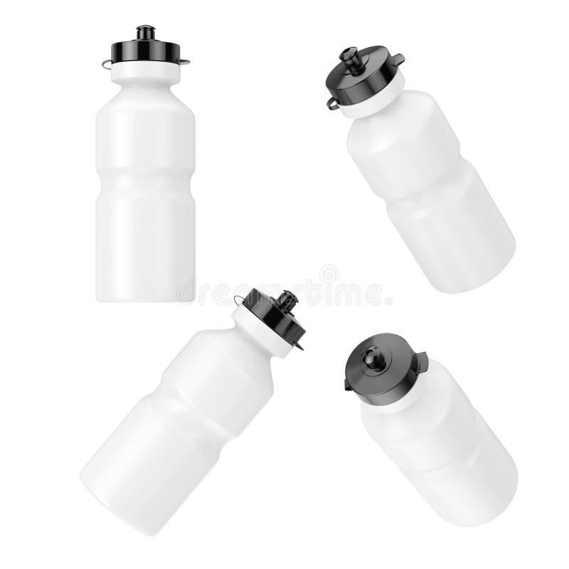 Plast- dricksvattenflaskor f?r vit sport i olik position framf?rande 3d vektor illustrationer