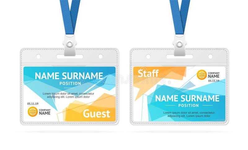 Plast- emblem för ID-kortmall vektor royaltyfri illustrationer