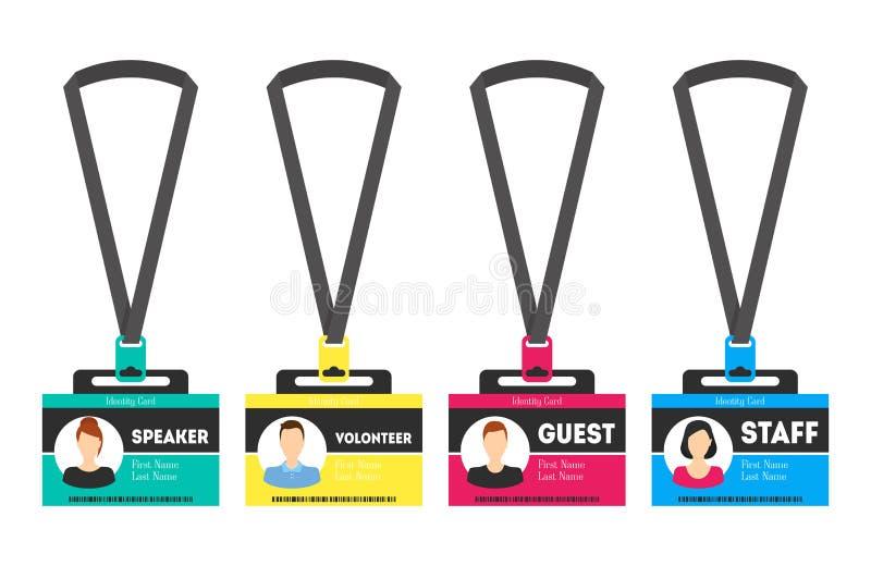 Plast- emblem för ID-kortmall vektor stock illustrationer