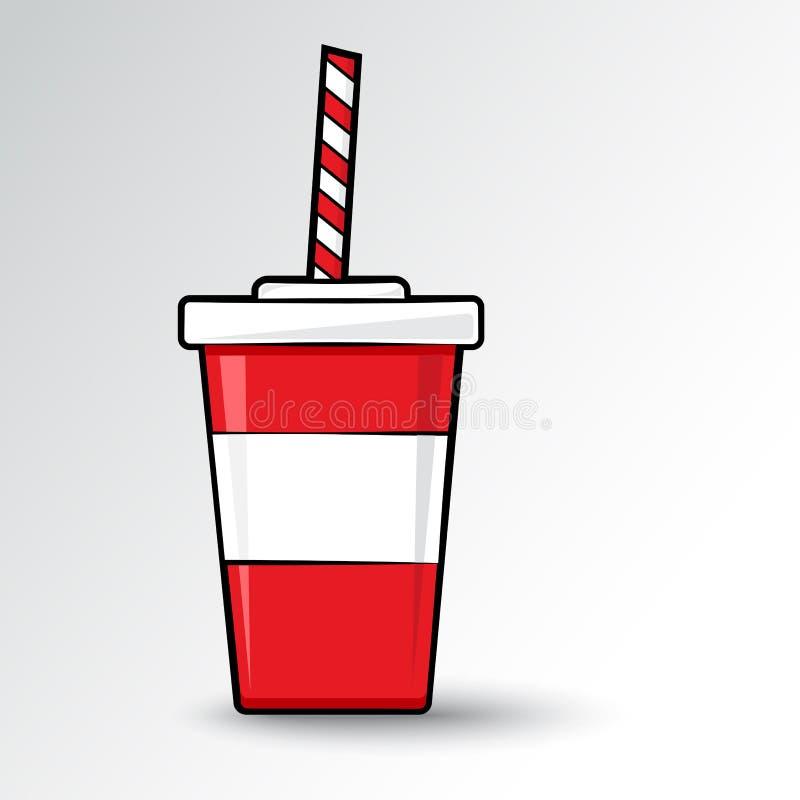Plast- exponeringsglas för Cola med sugrör r?d och vit symbol ocks? vektor f?r coreldrawillustration royaltyfri illustrationer
