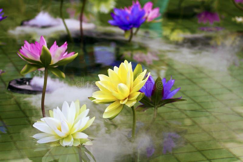 Plast- färgrik garneringlotusblomma i dammet, Taipei arkivfoton