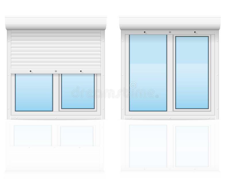 Plast- fönster med vektorillustrationen för rullande slutare stock illustrationer