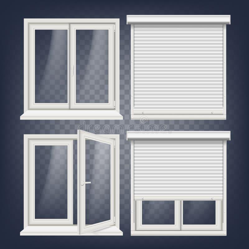 Plast- fönstervektor Vit metallisk rullslutare PVC Windows Plast- vit fönsterram Isolerat på genomskinligt stock illustrationer