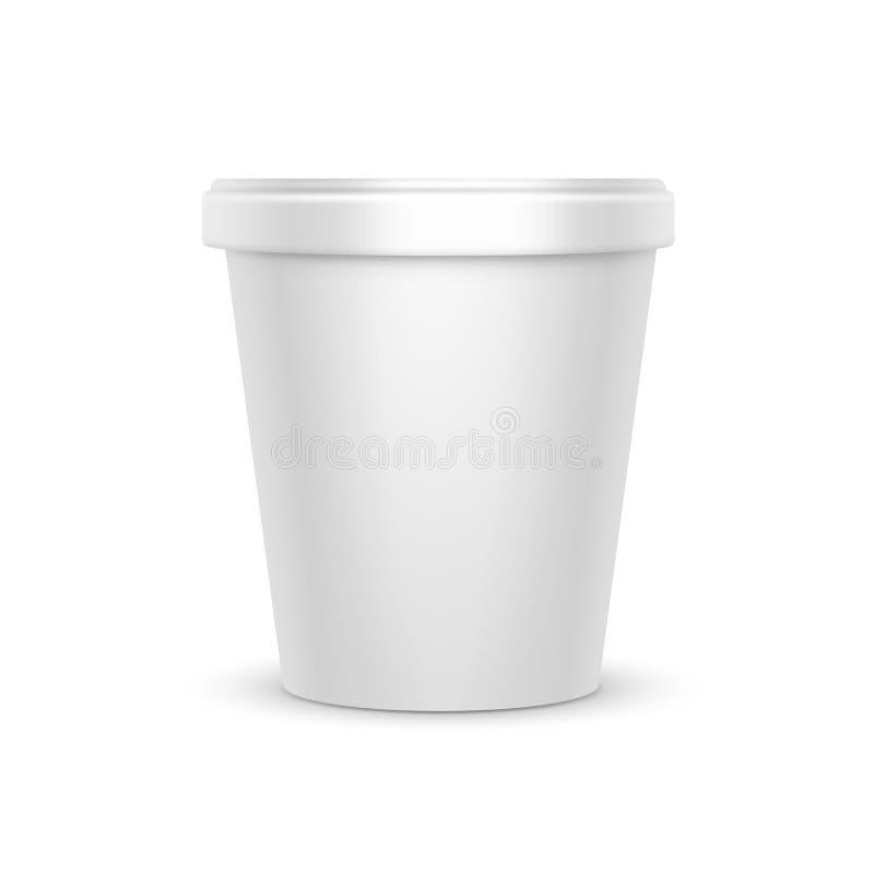 Plast- för mat för vektorvitmellanrumet badar hinkbehållaren för efterrätten, yoghurten, glass, gräddfil för packedesign vektor illustrationer