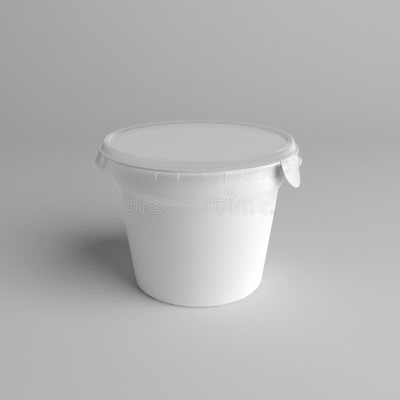 plast- för tolkningen 3D badar med folielockbehållaren för efterrätten, yoghurten, glass, gräddfil, mellanmålet, smör, margarin e stock illustrationer