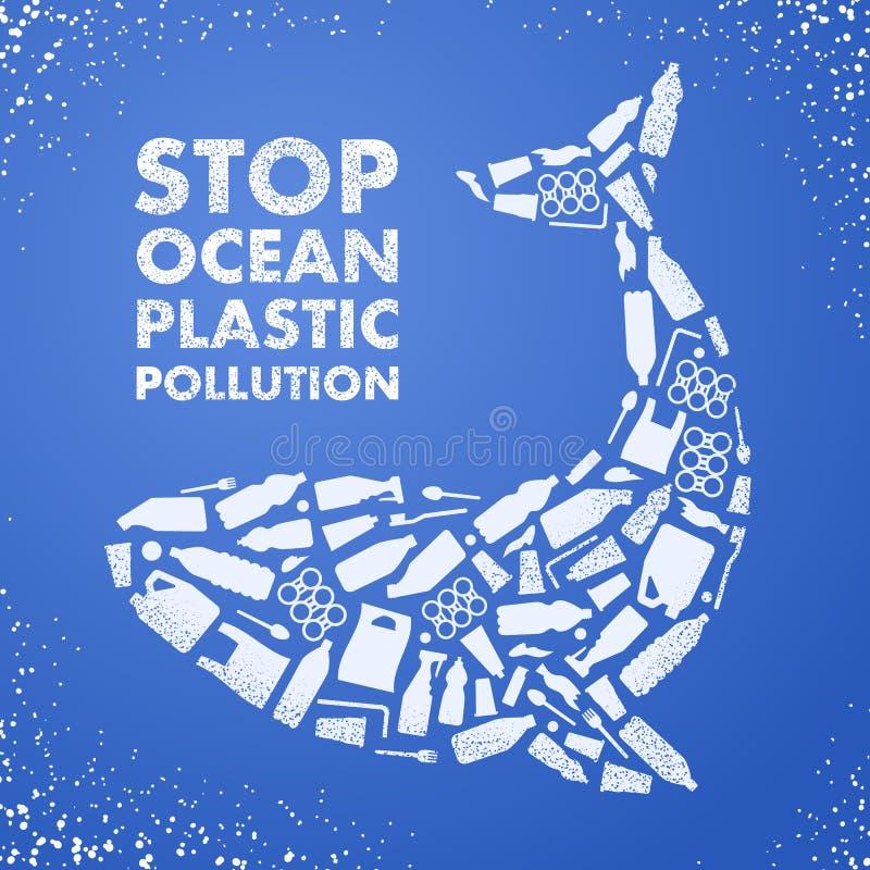 Plast- förorening för stopphav ekologisk affisch Val som komponeras av den vita plast- förlorade påsen, flaska på blå bakgrund royaltyfri illustrationer