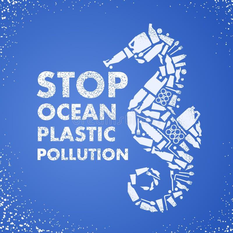Plast- förorening för stopphav Ekologisk affischHav-häst som komponeras av den vita plast- förlorade påsen, flaska på blå bakgrun royaltyfri illustrationer