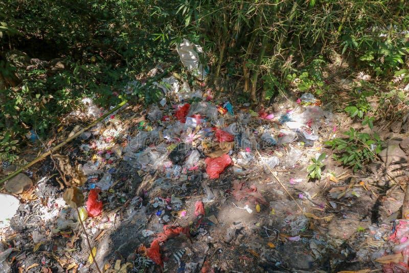 Plast- förorening i djungel Torr flodsäng i den tropiska skogen som fylls med avskräde Ledsen blick på rainforestförorening Säg s royaltyfri foto