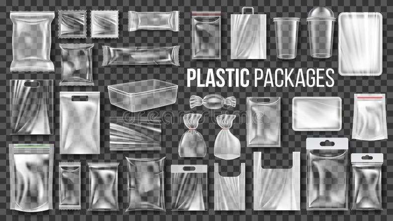 Plast- förpackar den fastställda vektorn för den genomskinliga sjalen Tom åtlöje för livsmedelsproduktpolyetylenpacke upp mall Re stock illustrationer