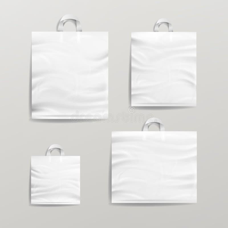 Plast- fastställd vektor för shoppingpåsar Vitt töm falskt övre Goda för packedesign royaltyfri illustrationer