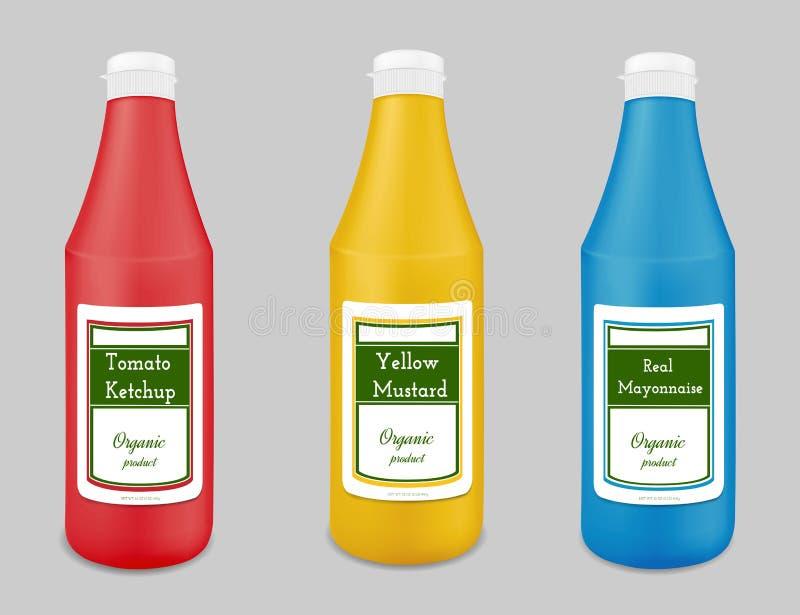 Plast- flaska för ketchup, sås, senap, majonnäs vektor illustrationer
