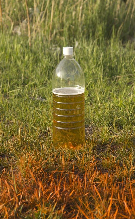 Plast- flaska med ?l arkivfoton