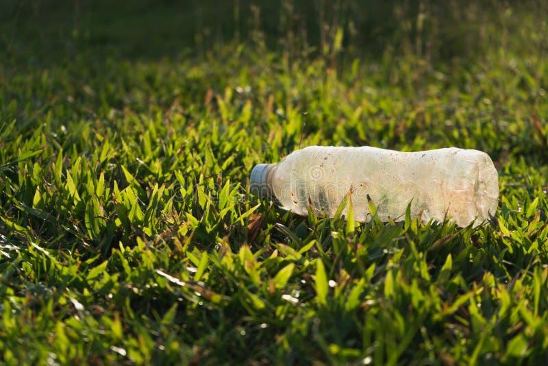 Plast- flaskavskräde på grönt gräs i soligt parkerar för begrepp för miljöskydd royaltyfri foto
