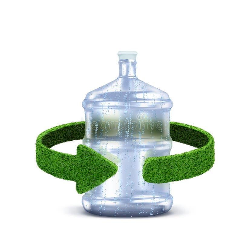 Plast- flaskbegrepp med gröna pilar från gräset Återvinningbegreppsisolering på vit royaltyfri foto