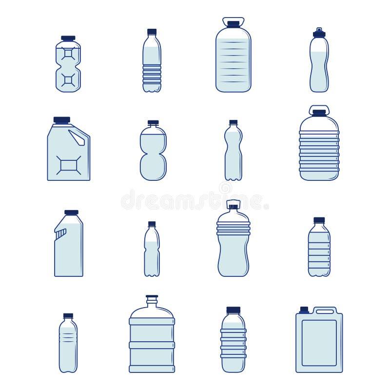 Plast- flaskuppsättning royaltyfri illustrationer