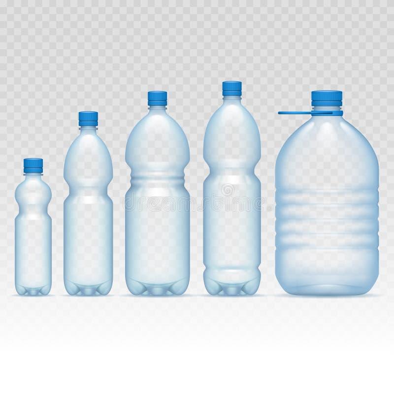 Plast-flaskuppsättning stock illustrationer