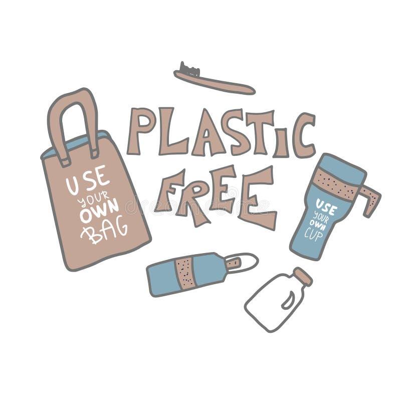 Plast- fritt vektorbegrepp med text och symboler stock illustrationer