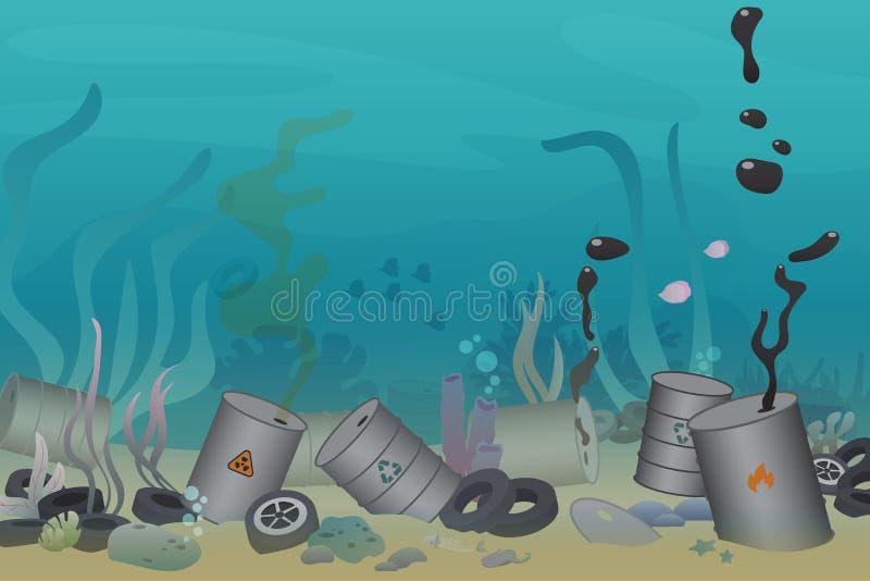 Plast-, gummihjul och giftigt avfall för trummaföroreningillustration under havsvektorillustrationen Hav och hav royaltyfri illustrationer