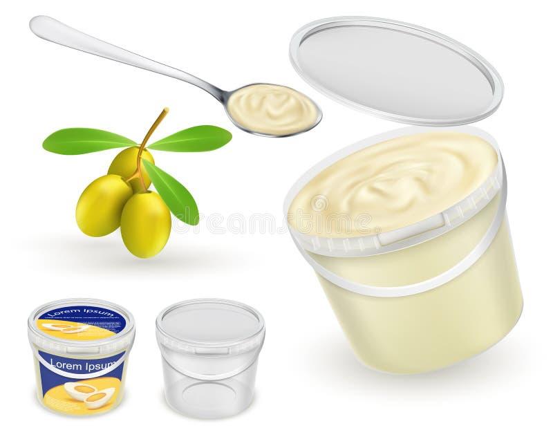 Plast-hinkar för realistisk vektor för livsmedelsprodukt stock illustrationer
